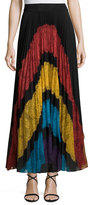Alice + Olivia Romona Lace-Panel Plisse Maxi Skirt, Multicolor