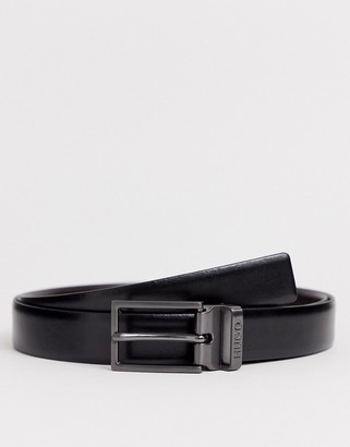 HUGO Grory leather two buckle belt gift set in black