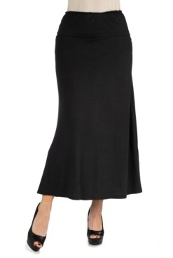 24Seven Comfort Apparel Women Elastic Waist Solid Color Maxi Skirt