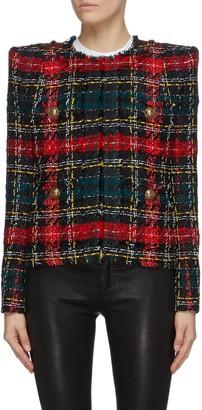 Balmain Collarless tartan plaid tweed jacket