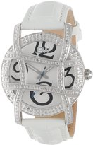 "JBW Women's JB-6214L-E ""Olympia"" Stainless Steel Designer Dial Leather Diamond Watch"