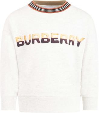 Burberry Grey Sweatshirt For Kids With Logo