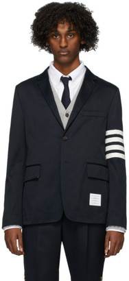 Thom Browne Navy Deconstructed 4-Bar Blazer