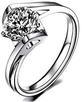 Ring 18k White Gold Plated Swarovski Crystal Wedding Engagement Heart R97 (brass-plated-gold, 5)