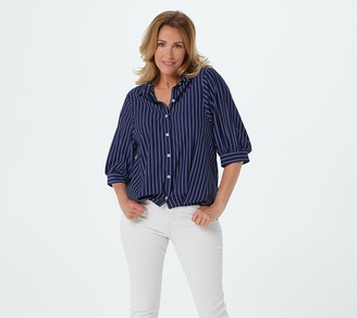 Truth + Style Jacquard Yarn Dyed Button-Front Stripe Shirt