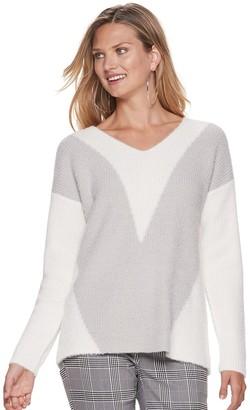 Apt. 9 Women's Jacquard Eyelash V-neck Sweater