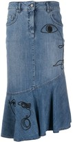 Moschino asymmetrical denim skirt