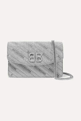 Balenciaga Bb Glittered Leather Shoulder Bag - Silver