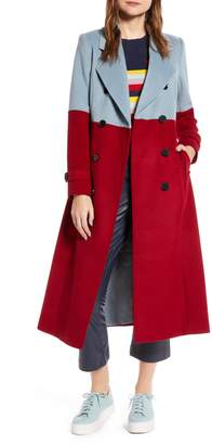 Halogen x Atlantic-Pacific Colorblock Wool Blend Coat