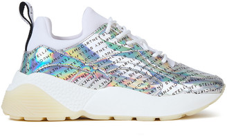 Stella McCartney Scuba And Holographic Logo-print Faux Leather Sneakers