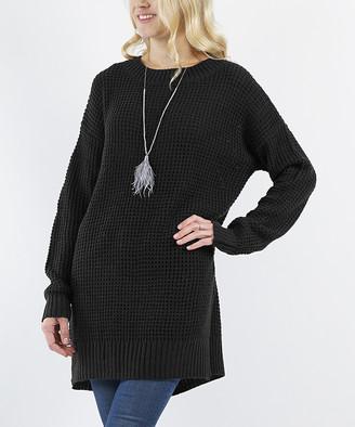 Lydiane Women's Tunics BLACK - Black Crewneck Side-Slit Sweater - Women