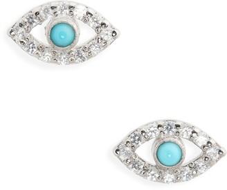 Anzie Evil Eye Multistone Stud Earrings