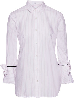 Stateside Bow-embellished Pinstriped Cotton Shirt