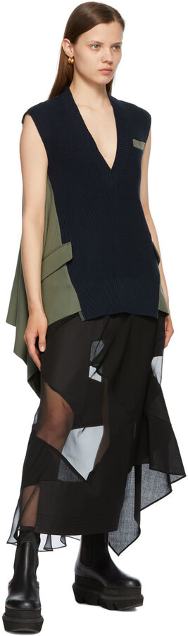 Thumbnail for your product : Sacai Khaki & Navy Knit Suiting Pullover V-Neck Vest