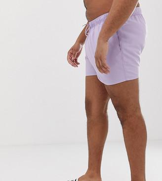 Asos DESIGN Plus swim shorts in lilac short length