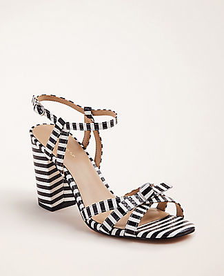 Ann Taylor Ilaria Striped Bow Embossed Leather Sandals