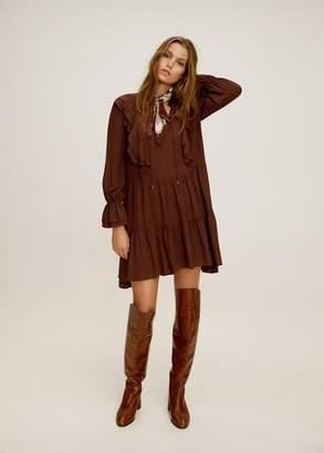 MANGO Short ruffled dress russet - 4 - Women