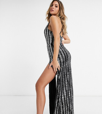 Jaded Rose exclusive sequin maxi dress with double-thigh split in silver stripe