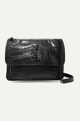 Saint Laurent Niki Medium Glossed Croc-effect Leather Shoulder Bag - Black