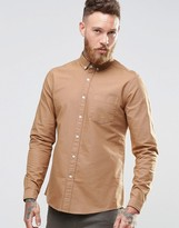 Asos Oxford Shirt In Tan With Long Sleeves In Regular Fit