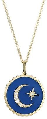 Sydney Evan 14K Yellow Gold, Diamond Enamel Moon Star Pendant Necklace