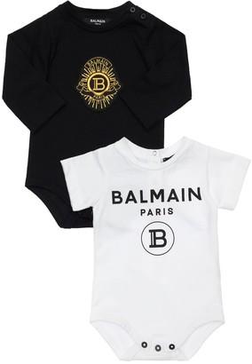 Balmain Set Of 2 Cotton Jersey Bodysuits