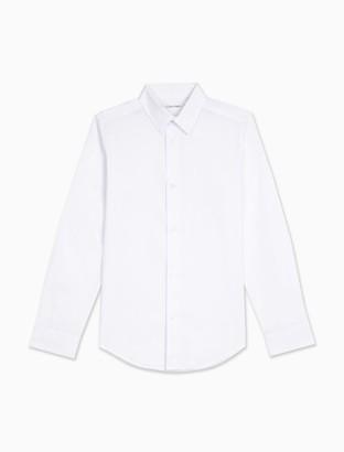 Calvin Klein Boys Solid Stretch Poplin Shirt