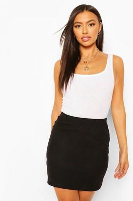 boohoo Linen Look A Line Mini Skirt