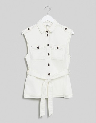 Object denim sleeveless top co-ord with belted waist in ecru