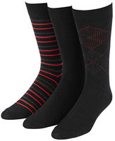 Jockey 3-Pack Dress Stripe Flat Argyle Crew Socks