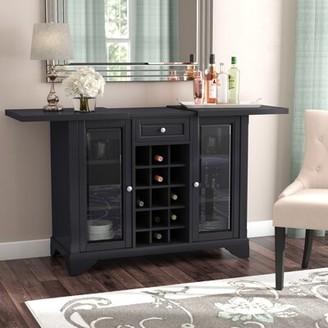 Three Posts Hedon Bar Cabinet Color: Black