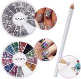 Professional Premium Quality Nail Art Accessories Set Including Wheels of Colourful And Silver Different Shapes Crystals / Gemstones And White Wax Rhinestones Picker Pencil / Decorations Application Tool By VAGA