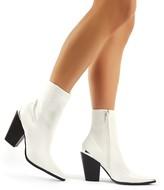 Public Desire Phoenix PU Block Heeled Western Ankle Boots