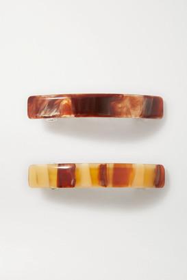 Valet Studio Meadow Set Of Two Marbled Resin Hair Clips - Brown