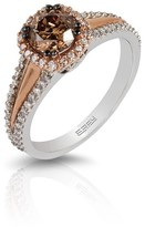 Effy Jewelry Effy Espresso 14K Rose Gold Cognac & White Diamond Ring, 1.08 TCW
