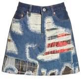 Junya Watanabe Women's Distressed Patch Denim Miniskirt