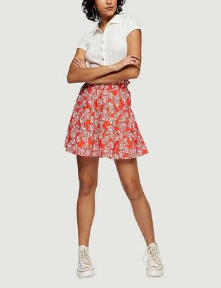 Topshop Floral-print shirred mini skirt