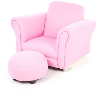 Zoomie Kids Ibarra Upholstered Kids Chair and Ottoman Color: Light Pink