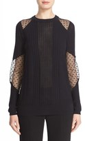 Prabal Gurung Dot Illusion Inset Cotton & Cashmere Sweater