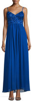 Sue Wong Sleeveless Sweetheart-Neck Embellished Gown, Sapphire