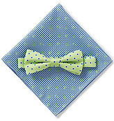 Class Club Anchor Printed Gingham Pocket Square & Dotted Bow Tie Set