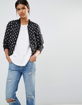 French Connection Dotty Spot Bomber Jacket