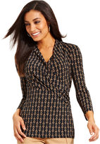 Charter Club Top, Three-Quarter-Sleeve Printed Faux-Wrap