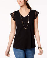 Style&Co. Style & Co Cotton Embroidered T-Shirt, Created for Macy's