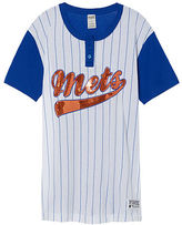 PINK New York Mets Bling Campus Henley Tee
