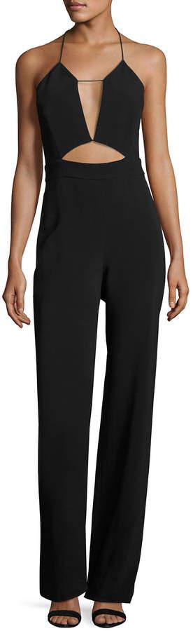 Cushnie et Ochs Cutout Cady Halter Jumpsuit, Black