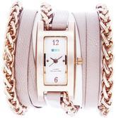La Mer Palermo Rosetone Wheat Chain Nude-Color Leather Wrap-Design Watch