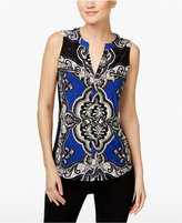 INC International Concepts Petite Printed Zip-Trim Blouse, Only at Macy's