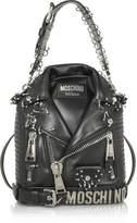 Moschino Black Leather Biker Jacket Backpack w/Piercings