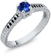 Gem Stone King 0.31 Ct Round Blue Sapphire Black Diamond 14K White Gold Engagement Ring